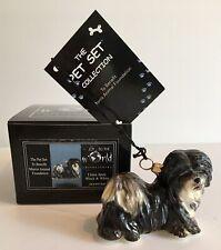 Lhasa Apso Black & White Dog Joy To The World Glass Christmas Ornament Nib