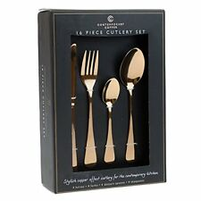Rose Copper 16 Piece Stylish Contemporary Kitchen Dining Cutlery Set