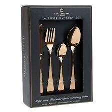 Cobre Rosa 16 piezas Conjunto de cubiertos de cocina comedor de estilo contemporáneo