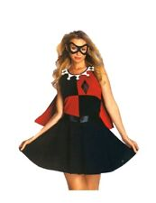 Woman DC Comics Harley Quinn Halloween Costume Sexy Dress Mask Cape Sz S 4 6 New