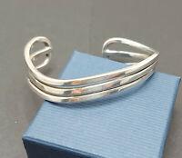 925 sterling silver wave cuff bangle C M E Jewellery Ltd 1990s hallmarked 28.74g
