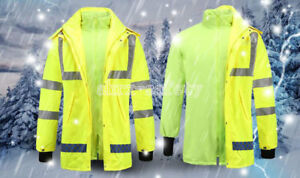 Hi-Vis Thermal Class 3 Safety Jacket Neon Reflective Work Coat Hooded Rain Coat