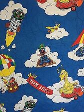 Vintage Sesame Street Quilted Fabric Cut Piece 44 x 62 Big Bird Oscar Muppets