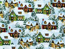 HOME HOLIDAY SCENIC  COUNTRY COTTAGES DAVID TEXTILES 100% COTTON FABRIC  YARDAGE