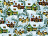 """HOME HOLIDAY SCENIC  COUNTRY COTTAGES DAVID TEXTILES  COTTON FABRIC 22"""" REMNANT"""