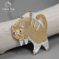 Unique 18K Gold Cute Cat Pendant for Women Solid 925 Sterling Silver Jewelry