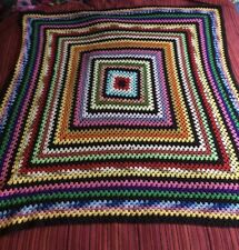 Retro vintage crochet afghan granny stripe brown & multi coloured throw blanket