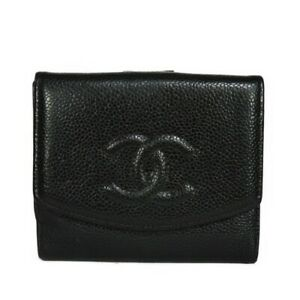 AUTHENTIC CHANEL Small flap wallet A13496 wallet Double Sided COCO Mark bl...