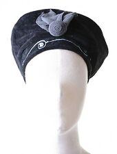 Mütze Hut aus Samt mit Pailletten & Blume Schwarz