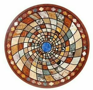 Marble Dining Table Top Inlay Semi Precious Gemstones Restaurant Table 42 Inches