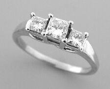 14K PLATINUM 1ct DIAMOND TRINITY THREE STONE LADIES RING H SI1 ENGAGEMENT RING