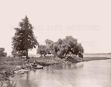 Macatawa Bay MI father son fishing rowboat lake 1905 photo 5x7 or request 8x10..