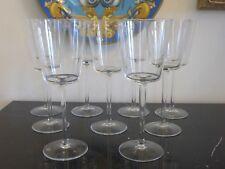"CALVIN KLEIN CRYSTAL SIGNED SET OF 7 ""DALTON"" PATTERN WINE GLASSES"