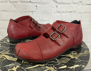 Cydwoq Women's Red Leather Double Monk Buckle Strap Oxford Shoes Sz 41 / US 11