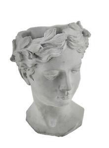 Zeckos Grey Classic Greek Lady Indoor/Outdoor Cement Head Planter