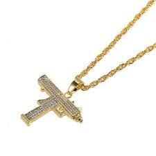 Hip Hop Necklace Men Gold Tone Crystal  Machine Gun Pendant Long Chain Jewelry