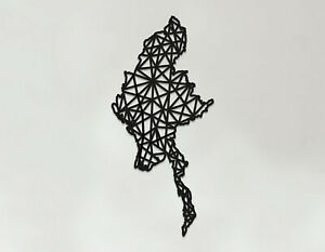 Myanmar Art - Wooden Laser Cut Wall Art - Geometric Country Art