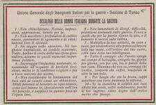 Militari- Propaganda 1a Guerra- Decalogo della Donna Italiana durante la Guerra