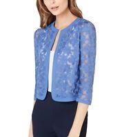 Anne Klein Womens Jacket Rainshadow Blue Size 6 Embroidered Cardigan $89- 119