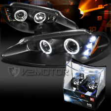 98-04 Dodge Intrepid Black Halo LED Projector Headlights+H3 Halogen Bulbs