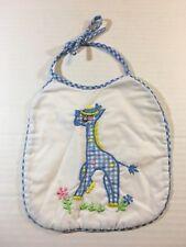 Vintage Baby Boys Handmade Baby Bib Ties Giraffe Blue White Checked Euc