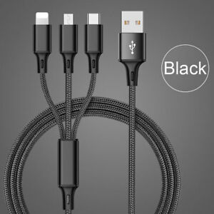 Multi 3 in 1 Quick Fast Charging charger Cable USB Type C IOS Android Universal