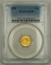 1855 Gold One Dollar Coin $1 PCGS AU-58 Great Luster