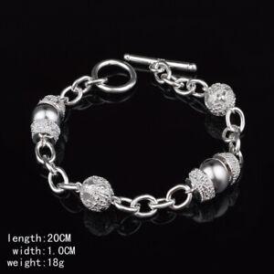 Hot Fashion 925 sterling Silver fine geometry Circle Bracelet for Women jewelry