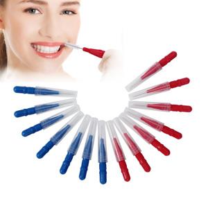 100X Interdental Brush Floss Sticks Tooth Floss Head Toothpick Cleaning Red+Blue