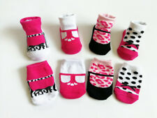 4 Pack NEW BORN Girl Infant Socks 0-6 Month Leopard Dots Pattern Shoe Shaped