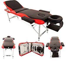 Merax Aluminium 3 Section Portable Massage Table Facial SPA Tattoo Bed BlackRed