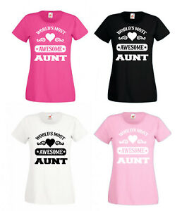 Worlds Most Awesome Mum Nan Aunt GF etc T-Shirt Gift For Her Mothers Day XS-XXL