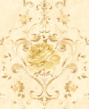 Floral Wallpaper Gold Shimmer Cream Modern Chinoiserie Lovely Accent Wall