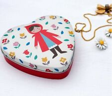 KITSCH STYLE HEART SHAPED RED RIDING HOOD SMALL DECORATIVE TIN ~ STOCKING FILLER