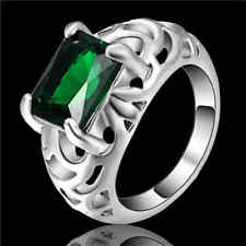 Size 6 Emerald Crystal Ring Women's 10KT White Gold Filled Wedding Band jewelry