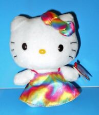 "Adorable Plush Hello Kitty Rainbow Dress Stuffed Doll Rare HTF Sanrio 2014 6"""