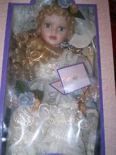 "Goldenvale Porcelain Doll Beautiful Blonde Curls Blue Eyes Grey & Ivory Dress14"""