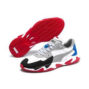 Puma Ferrari Storm Trainers for Men Footwear Sport Casual White, Red & Grey NEW