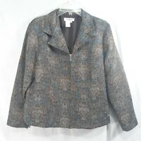 Coldwater Creek Womens Petite Large PL Jacket Zip Front Abstract Multicolored
