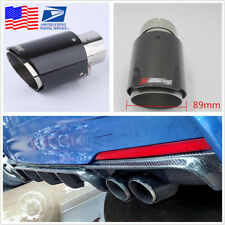 ID 63mm OD 89mm Glossy Stainless Steel+Carbon Fiber Car Exhaust Muffler Pipe Tip