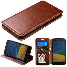For Motorola Moto E4 / G5 Leather Flip Wallet Case Cover Folio Pouch Stand BROWN