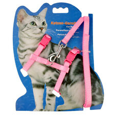 Pink Nylon Cat Walking Harness and Leash Set Girl Kitty Kitten Strap Harness