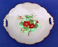 LIMOGES TRAY Antique Handled Tidbit Vintage Artist Signed Floral Porcelain