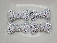 50 Silver Flatback Acrylic Dotted Rhinestone Bows BowKnot Cabochons 12X20mm