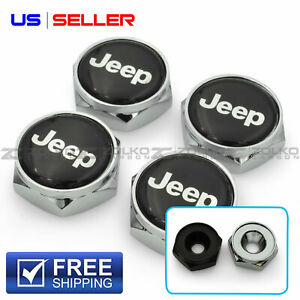 LICENSE PLATE BOLTS SCREWS FRAME CAPS FOR JEEP 2 COLOR - US SELLER LB31