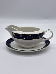 Galaxy by Sakura Porcelain Blue White 14 karat Gold Gravy Dish & Platter Set