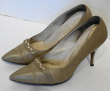 Vintage Taupe High Heels Cameo Room Braided Trim Spiked Heels Pointed Toes 7 1/2