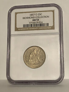 1857 O Seated Liberty Quarter Au55 NGC