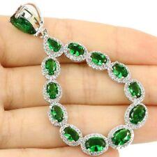 Long Big Green Emerald White CZ SheCrown Silver Pendant