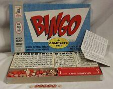 Vintage Milton Bradley Bingo Blue Box Cards Craft Wood Markers 1960 4002 USA